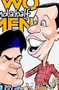 Two and a Half Men, Charlie Sheen, Jon Cryer caricature